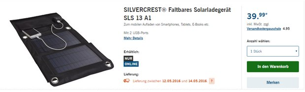 silvercrest solar ladeger t als lidl angebot ab 23. Black Bedroom Furniture Sets. Home Design Ideas
