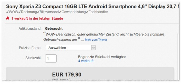 gebrauchtes Sony Xperia Z3 compact ohne Vertrag - B-Ware-Angebot