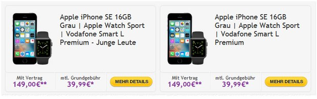 Vodafone Smart L + iPhone SE + Apple Watch für 39,99 € pro Monat + 149 € Zuzahlung