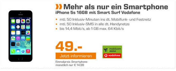 Vodafone Smart Surf + iPhone 5S für 14,99 € bei Saturn