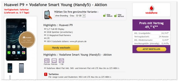 Vodafone Smart Young (1GB) und Huawei P9