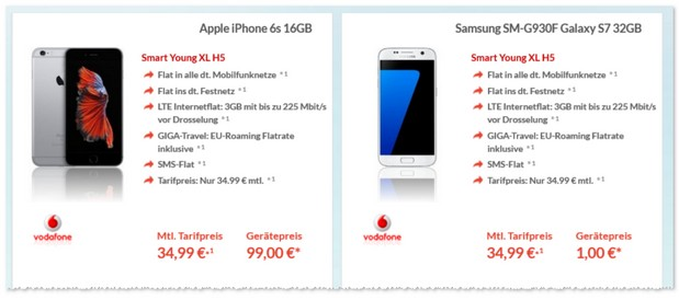 Vodafone Smart Young XL + iPhone 6S für 34,99 € pro Monat