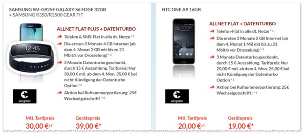 congstar Allnet-Flat Plus + Samsung Galaxy S6 edge: Vertrag mit 2 GB Internet-Flat
