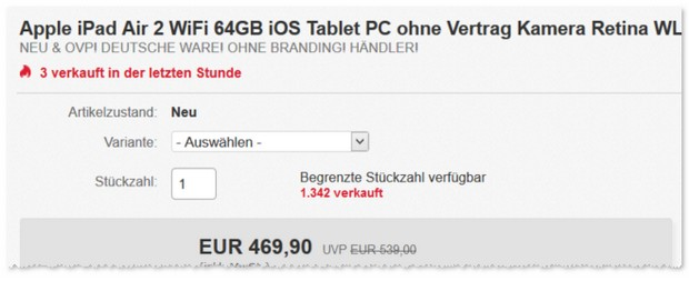 iPad Air 2 (64 GB, WLAN) ab 5.5.2016