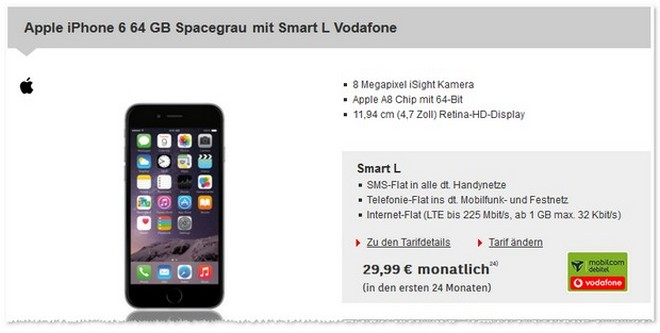 Vodafone Smart L (md) als Apple iPhone 6 Vertrag