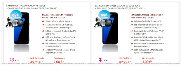 Magenta Mobil M Friends und Samsung Galaxy S7 edge optional mit Rundumpaket