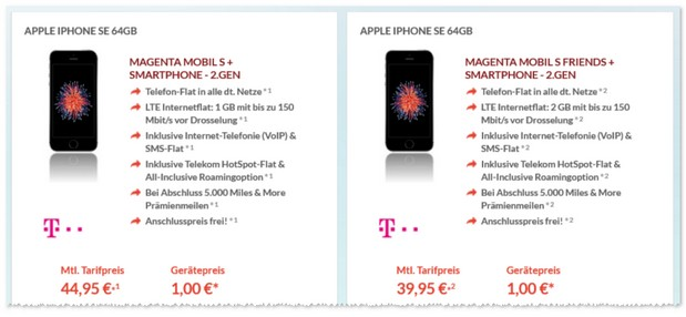 Magenta Mobil S Friends + iPhone SE