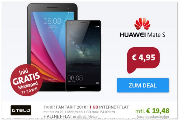 otelo Fan-Tarif + Huawei Mate S + Tablet gratis
