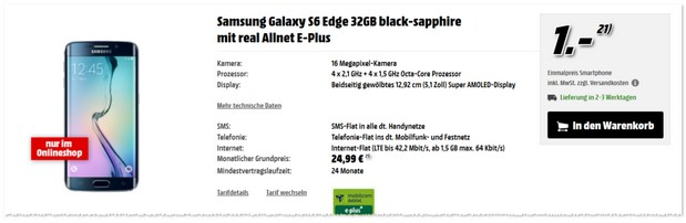 Real Allnet E-Plus + Samsung Galaxy S6 Edge