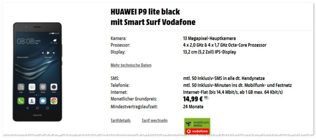 Vodafone Smart Surf (14,99 €) + Huawei P9 Lite