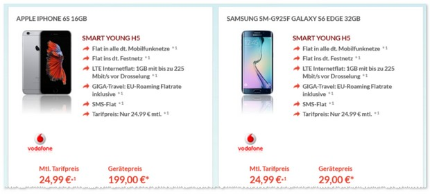 Vodafone Smart Young + iPhone 6S