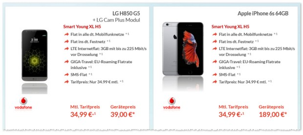 Vodafone Smart Young XL + LG G5