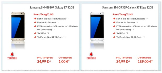 Vodafone Smart Young XL + Samsung Galaxy S7 - 1 Euro Zuzahlung