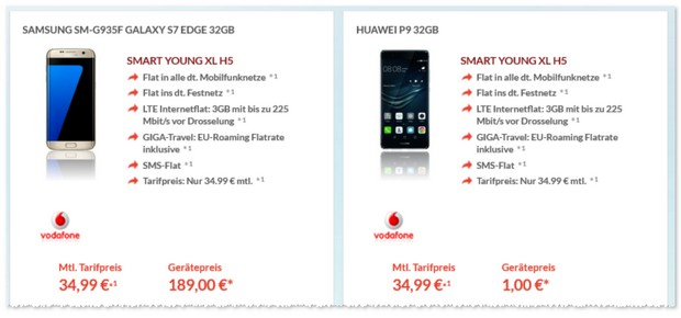 Vodafone Smart Young XL (3GB) + Samsung Galaxy S7 Edge