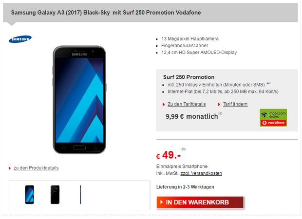 Vodafone Surf 250 Promotion + Samsung Galaxy A3 (2017)