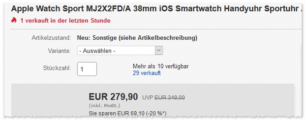 Apple Watch Sport (B-Ware) mit 38mm