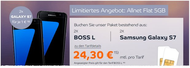 Boss Mobile Handyvertrag mit Samsung Galaxy S7
