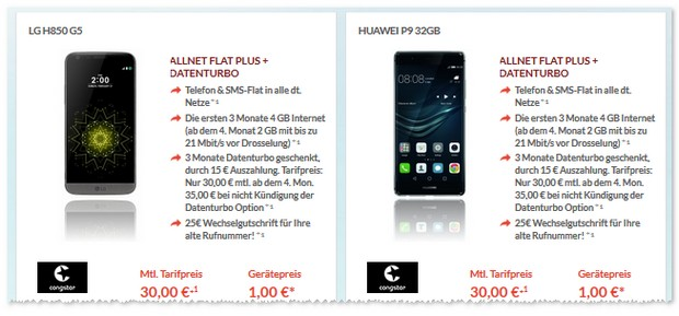 congstar Allnet-Flat Plus mit Huawei P9 inklusive Datenturbo