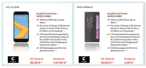 congstar Allnet Flat Plus + Sony Xperia X mit Datenturbo