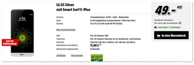 E-Plus Smart Surf (md) als LG G5 Vertrag