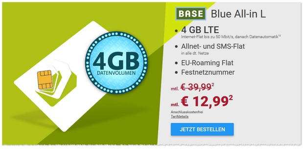 o2 Blue All-in L für günstige 12,99 Euro