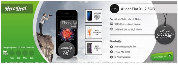 otelo Allnet-Flat XL + iPhone SE als Modeo Hero Deal