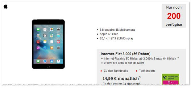 Telekom Internet-Flat 3000 (md) + iPad mini 4