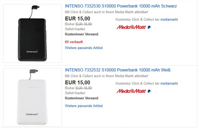 intenso powerbank s10000 bei mediamarkt ab 17 f r 11. Black Bedroom Furniture Sets. Home Design Ideas