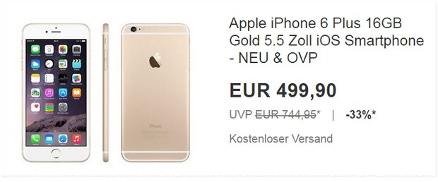 iPhone 6 Plus ohne Vertrag in Gold (16GB)