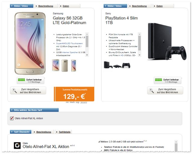 Otelo Allnet-Flat XL (2,5GB) + Samsung Galaxy S6 + PS4 Slim 1TB
