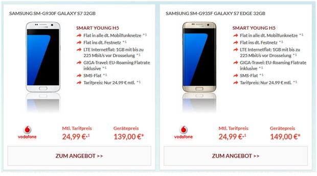 Vodafone Smart Young + Samsung Galaxy S7 edge für 24,99 € + 149 € Zuzahlung
