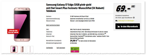 Telekom Flat Smart Plus als Samsung Galaxy S7 Edge Vertrag