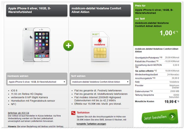 Vodafone comfort Allnet (md) + iPhone 6 (B-Ware)