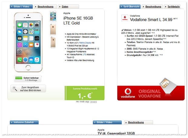 Vodafone Smart L als iPhone SE Vertrag mit Apple TV gratis