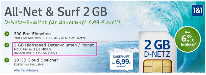 WEB.DE Handytarif All-Net & Surf ab 6,99 €