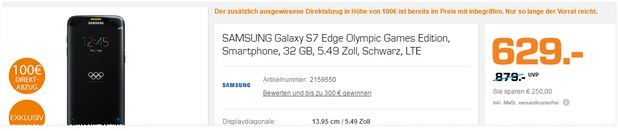 Samsung Galaxy S7 edge Olympic Games Edition am Saturn Super Sunday am 22.8.2016 für 629 €