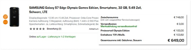Samsung Galaxy S7 edge Olympic Games Edition mit 100 € Rabatt