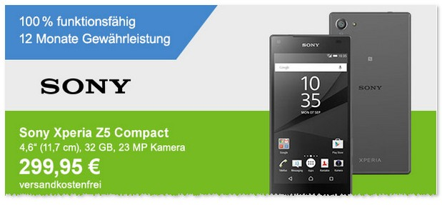 Sony Xperia Z5 compact ohne Vertrag als Demoware-Angebot