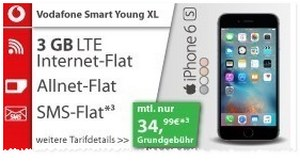 Vodafone Smart Young XL + iPhone 6S für 34,99 €