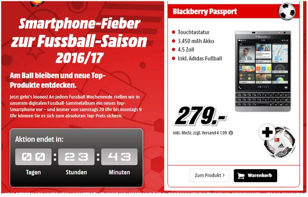 blackberry passport ohne vertrag 119 mediamarkt. Black Bedroom Furniture Sets. Home Design Ideas