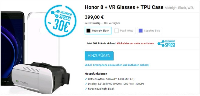 Honor 8 VR-Brille + Case + 30 € Cashback in der vMall