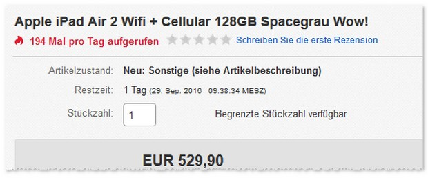 iPad Air 2 (WiFi, Cellular, 128GB) als B-Ware-Angebot