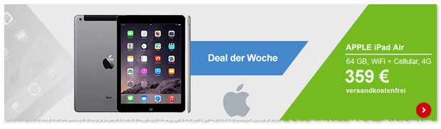 iPad Air WiFi + Cellular/4G (64GB) für 359 € als B-Ware