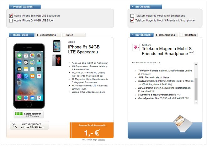 Telekom Friends S mit iPhone 6S für 39,95 €Telekom Friends S mit iPhone 6S für 39,95 €
