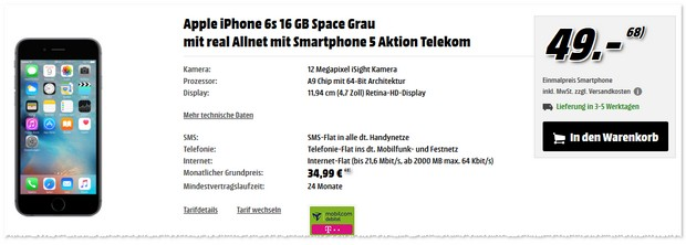 Telekom Real Allnet + iPhone 6S als Media Markt Angebot