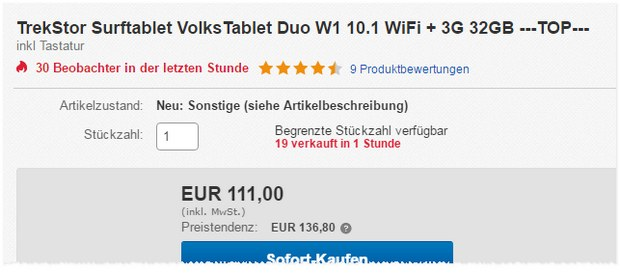 »Volks-Tablet« TrekStor SurfTab Duo W1 (WiFi + 3G) als B-Ware-Deal 111 €