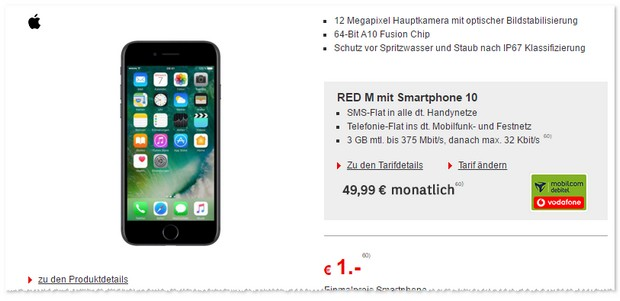 Vodafone Red M (md) + iPhone 7 mit 1 Euro Zuzahlung