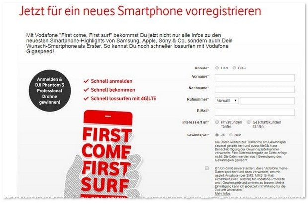 Vodafone Red S als iPhone 7 Vertrag