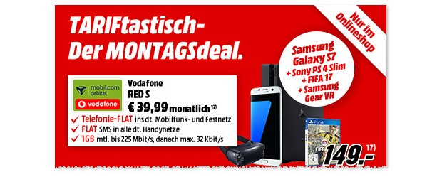 Vodafone Red S (md) + Samsung Galaxy S7 als TARIFtastisch Deal