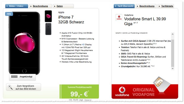 Vodafone Smart L (2GB) als iPhone 7 Vertrag